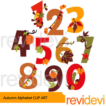 Fall clip art - Autumn Numbers clipart