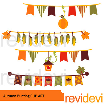 Fall clipart - Autumn Bunting Banners clip art