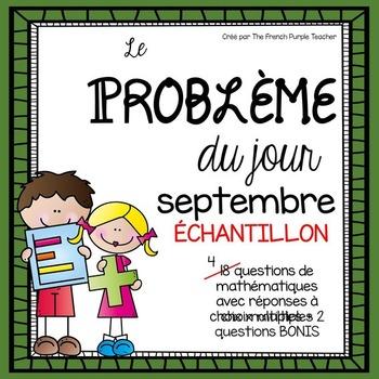 Résolution de problème en mathématique : septembre ÉCHANTILLON