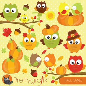 Fall owls clipart commercial use, vector graphics, digital