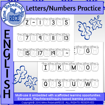 Fall pumpkin letters and numbers activity.