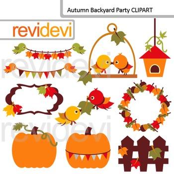 Fall season Clip Art / Autumn Backyard Party (birds, pumpk