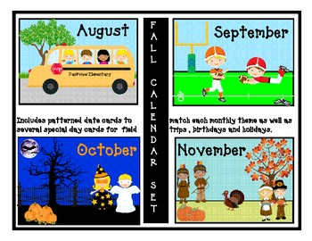 Fall set for calendar (Aug, Sept, Oct and November) with p