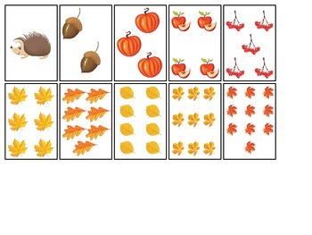 Fall themed Number Matching Cards preschool educational ac