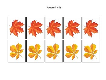 Fall themed Pattern Cards #4 preschool educational game fo