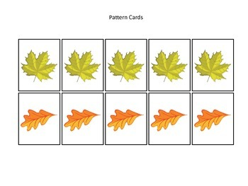 Fall themed Pattern Cards #5 preschool educational game fo