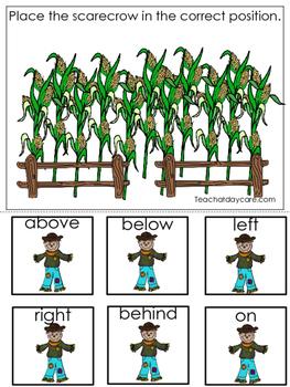 Fall themed Positional Game.  Printable Preschool Curriculum Game