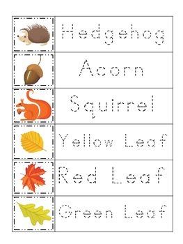 Fall themed Trace the Word preschool educational worksheet