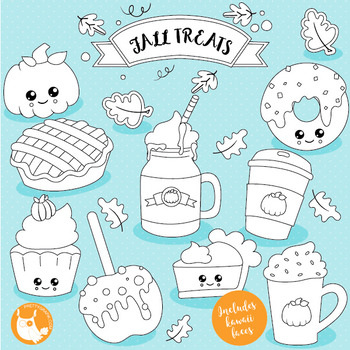Fall treats stamps commercial use, vector graphics, images