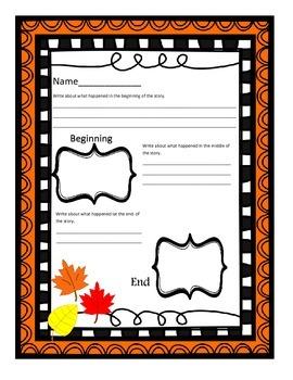 Fall/October Story summary organizer