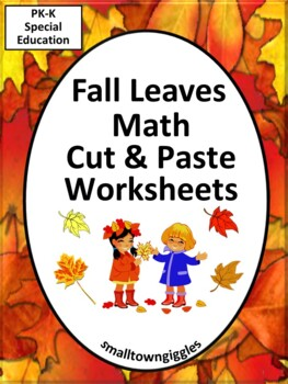 NO PREP Fall Cut and Paste Kindergarten Math Worksheets Mo
