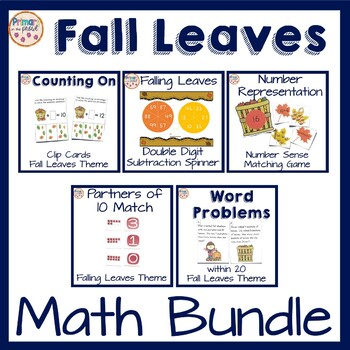 Falling Leaves Math Center Bundle- addition, subtraction,