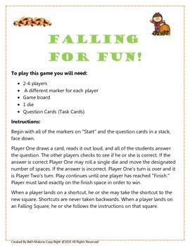 Falling for Fun Game Board