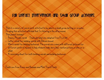 Falling for Words: Small group and intervention pack