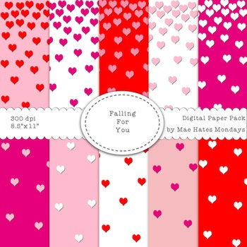 """Valentine's Day Digital Papers - """"Falling for You"""""""