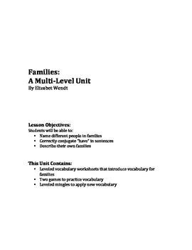 Families:  A Multi-Level ESL Unit