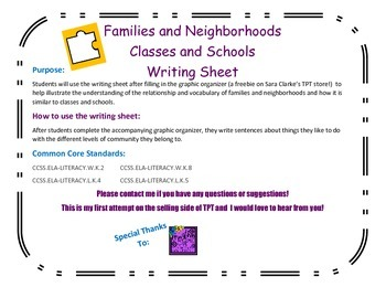 Families and Neighborhoods Writing Sheet for the Graphic O