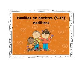 Familles des nombres 3 à 18: additions. Centre de math et