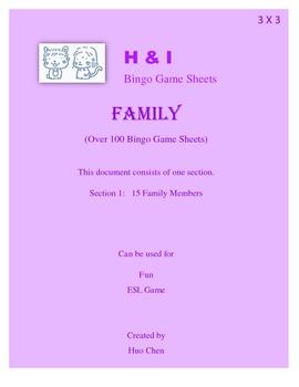 Family Bingo Game (H&I Bingo Game Sheets) - 3 X 3