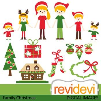 Family Christmas clip art (parents, kids, mom, dad, brothe
