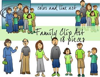 Family Clip Art - Color and Line Art 18 pc set