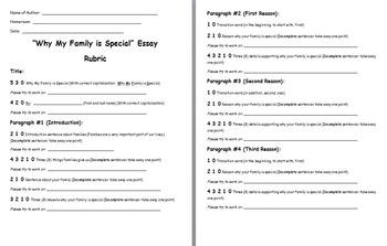 Family Essay Teacher Assessment Rubric
