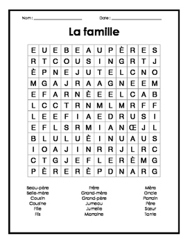 Family French Word Search Puzzle - Mots cachés français su