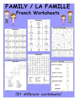 Family / La famille FRENCH Worksheets