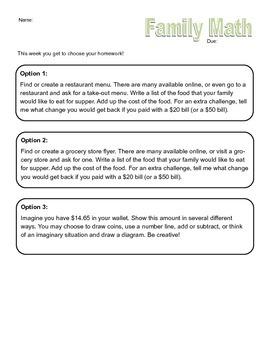 Family Math Homework - Money