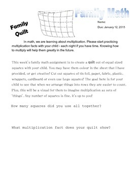Family Math Homework - Multiplication Quilt