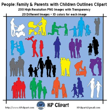 Family and Parents with Children Outlines Clipart
