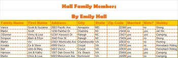 Family Reunion Mail Merge Word & Excel Project