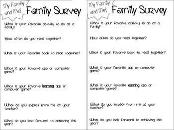 Back to school: Family Survey Freebie