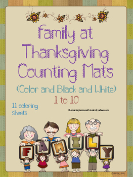 Family at Thanksgiving Counting Mats 1 to 10