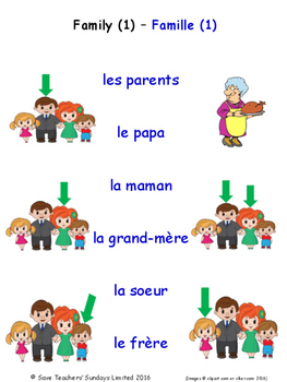 Family in French Matching Activities