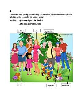 Familia (Family in Portuguese) Partner Speaking activity