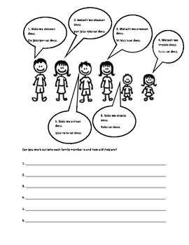 Family members and age worksheet Japanese