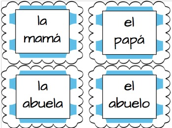 Family vocabulary words flashcards in Spanish
