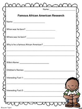 Famous African American Research Fact Sheet