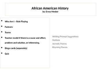 """African American Histroy """"Who Am I"""" Role Play"""