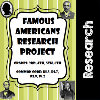 Famous American Research Project- Common Core- 3rd, 4th, 5th, 6th
