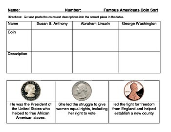 Famous Americans Coin Sort