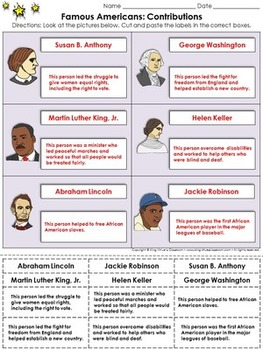 Famous Americans: Contributions Cut and Paste Activity - S