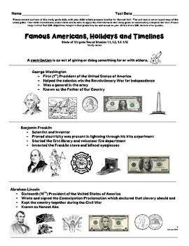 Famous Americans First Grade Study Guide