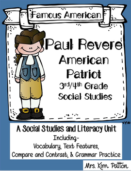 Famous Americans: Paul Revere Activities & Interactive Notebook