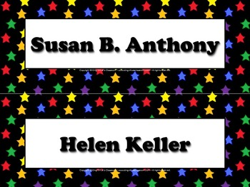 Famous Americans Vocabulary Strips - Susan B. Anthony Hele