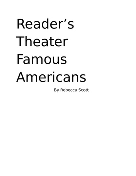 Black History Month and President's Day Reader's Theater
