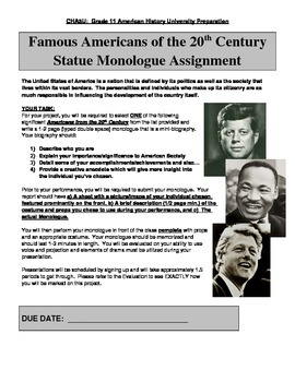 Famous Americans of the 20thC Statue Monologue Assignment
