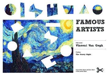 Famous Artists Cut & Paste Worksheet - Vincent Van Gogh -