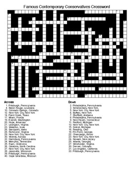 Famous Contemporary Conservatives Crossword & Word Search